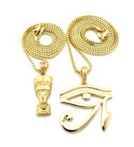 Egyptian Queen Nefertiti Pendant Eye Of Ra Bling Chain Necklace