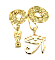 Egyptian Queen Nefertiti Pendant Eye Of Ra Bling Chain Necklace