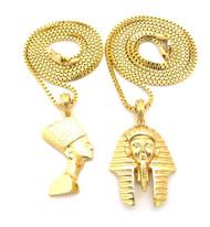 Egyptian King Akhenaten Queen Nefertiti Pendant Chain