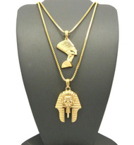Egyptian King Akhenaten Queen Nefertiti Pendant Chain