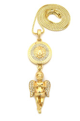Good Vs Evil Guardian Angel Cherub Medusa Hip Hop Chain Necklace