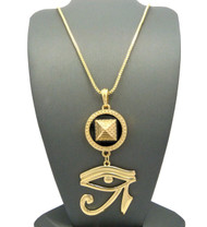 Egyptian Pyramid Eye Of Ra Hip Hop Pendant Chain Necklace