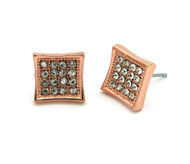 Men's Iced Out Square Kite Rose Gold Bling Earrings