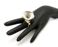 Ladies Big Stone Fashion Adjustable Stretch Ring Gold