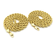 14k Gold 6mm 30 Inch Rope Chain Necklace Set