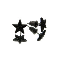 Hood Star Hip Hop Cz Stone Earrings Black