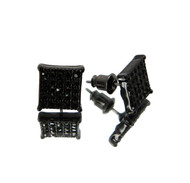 Hip Hop Square Cut Cz Stone Bling Earrings Black