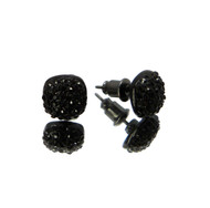 Snow Cap 3D Iced Out Earrings Black