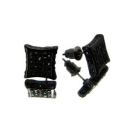 Iced Out Kite Cut Hip Hop Bling Earrings Black