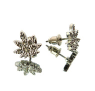 Marijuana Weed Leaf Hip Hop Silver Bling Earrings