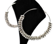 Ladies Rhinestone Rhodium Silver Big Hoop Earrings
