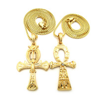 African Egyptian Ankh Eagle Cross Pendant Chain Set Gold