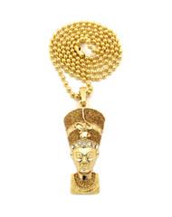 Egyptian African Queen NEFERTITI Diamond Cz Stone Pendant Gold