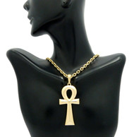 Ladies Ancient Egyptian Ankh Cross Pendant Gold