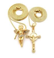 Men's God Son Angel Cherub Micro Jesus Piece Pendant Gold