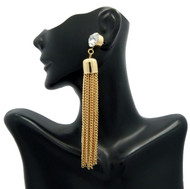 Ladies Big Stone Cz Tassel Earrings Gold