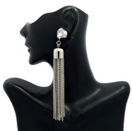 Ladies Big Stone Cz Tassel Earrings Silver