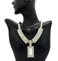 Ladies Diamond CZ Snake Chain Necklace & Pendant Silver