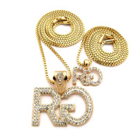 Men's Hip Hop Rich Gang Cz Stone Pendant Chain Necklace Gold