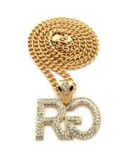 Hip Hop Rich Gang Chain Pendant w/ Miami Cuban Link Chain Gold