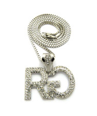 Men's Hip Hop Rich Gang Chain Pendant Box Chain Necklace Silver