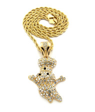 Iced Out Diamond Cz Dough Boy Pendant w/ Rope Chain Gold