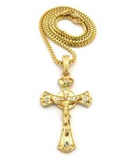 14k Gold Ancient Deep Set Circle Cross Pendant Box Chain