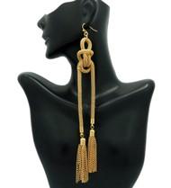 Ladies Double Knot Tassel Earrings Gold