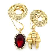 King Tut Diamond Cz Onyx Micro Hip Hop Chain Pendant Gold