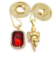 Hip Hop Micro Angel Cherub Pendant Square Ruby Onyx Shield Chain