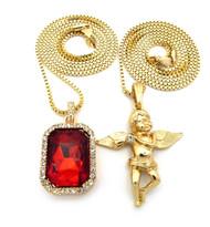 Flying Winged Micro Angel Cherub Onyx Ruby Shield Pendant