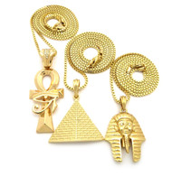 Egyptian Trinity King Tut Pyramid Ankh Cross Pendant Chain Gold