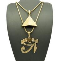 Pyramid Of Giza Eye Of Horus Egyptian Pendant Chain Set Gold