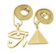 Pyramid Of Giza Eye Of Horus Egyptian Pendant Chain Set Gold