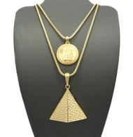 14k Gold King Tut Pyramid Of Giza Egyptian Micro Pendant Chain