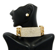 Ladies Bling Diamond CZ Stretch Choker Necklace Earrings Set Gold