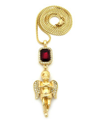 Praying Angel Cherub Faux Ruby Onyx Shield CZ Pendant Gold Red