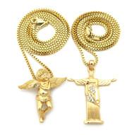 14k Gold Rio de Janeiro Christ the Redeemer Cherub Pendant