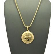 14k Gold Egyptian Udjat Eye of Horus Ra Box Chain Pendant