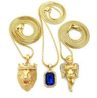 14k Gold Lion Of Judah Cherub Blue Onyx Hip Hop Pendant