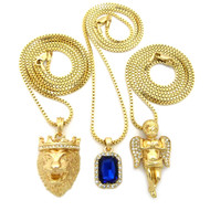 14k Gold Lion Of Judah Cherub Blue Onyx Hip Hop Pendant