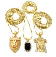 Jesus Lion Of Judah Micro Cherub Black Onyx Hip Hop Chain