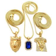 Jesus Lion Of Judah Micro Cherub Blue Onyx Hip Hop Chain
