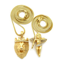 Lion Of Judah Micro Cherub Iced Out Cz Chain Pendant