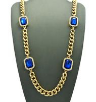 Mens Iced Out Diamond Cz Deep Blue Onyx Chain Gold
