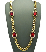 Mens Iced Out Diamond Cz Ruby Red Onyx Chain Gold