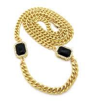 Hip Hop Onyx Diamond Cz Black Shield Chain Gold