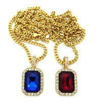 Hip Hop Ruby Red Blue Shield Pendant Cuban Chain