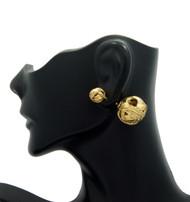8mm Ladies Wire Ball Filigree Box Bling Earrings