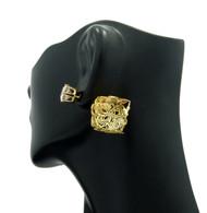 8mm Simulated Diamond Fan Wire Filigree Box Bling Earrings